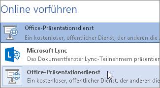 Onlinepräsentationen mit dem Office-Präsentationsdienst