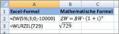 Excel-Formeln und deren ähnliche mathematische Formeln