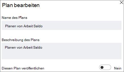 Screenshot bearbeiten Plan im Dialogfeld mit Stellen Sie diesem Plan öffentlichen Steuerelement.