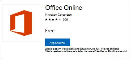 Die Office Online-Erweiterungsseite im Microsoft Store