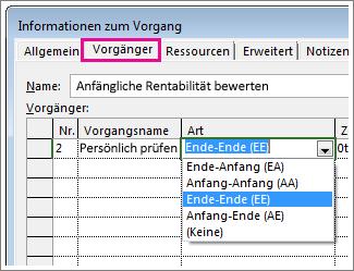 Registerkarte 'Vorgänger' im Dialogfeld 'Informationen zum Vorgang'
