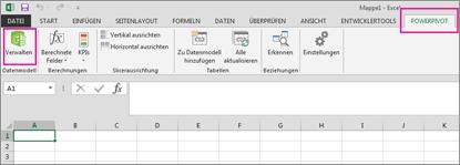 Registerkarte 'PowerPivot' und Schaltfläche 'Verwalten'