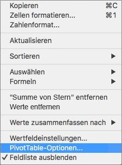 """""""PivotTable-Optionen"""" im Kontextmenü in Excel für Mac"""