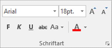 """Schaltfläche """"Schriftarttyp"""" in Visio."""