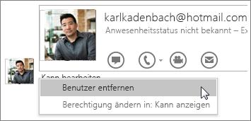 """Screenshot der Optionen für """"Freigabe beenden"""" in OneNote 2016"""
