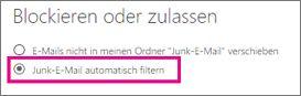 Junk-E-Mails automatisch filtern