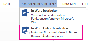 "Abbildung des Befehls ""In Word Web App bearbeiten"""