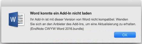 """Fehlermeldung """"Word konnte ein Add-In nicht laden"""""""