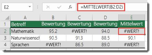 #WERT!-Fehler in MITTELWERT