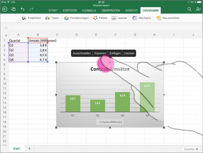 Kopieren eines Diagramms aus Excel für iPad