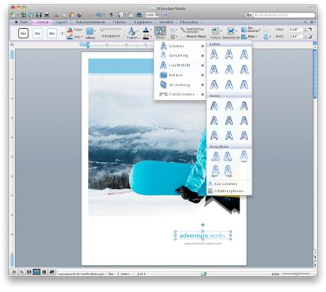 Word-Oberfläche mit dem neuen Menüband von Office für Mac