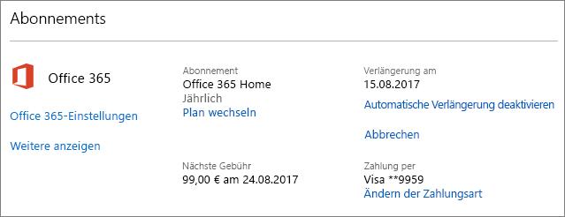 """Screenshot der Seite """"Dienste und Abonnements"""""""