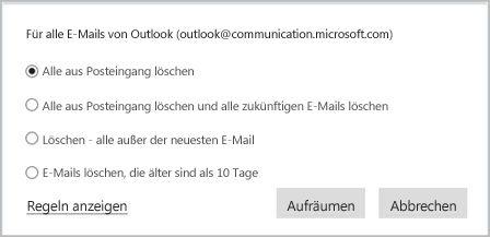 """Organisieren Ihrer E-Mails mithilfe von """"Aufräumen"""""""