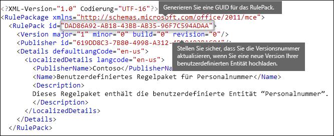 """XML-Markup mit dem Element """"Regelpaket"""""""