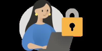 Abbildung einer Frau am Laptop neben einem Vorhängeschloss