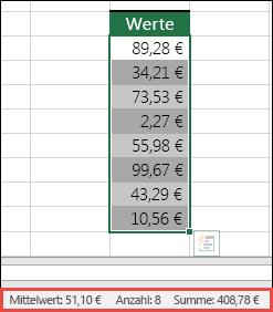 Screenshot von der Auswahl eines Zellbereichs und dem nachfolgenden Blick auf die Statusleiste