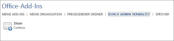 """Screenshot der Registerkarte """"Verwaltet"""" der Seite """"Office-Add-Ins"""" in einer Office-Anwendung Auf der Registerkarte wird das Add-In """"Zitate"""" angezeigt."""
