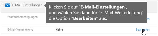 """Wählen Sie """"E-Mail-Einstellungen"""" und dann """"Bearbeiten"""" aus."""