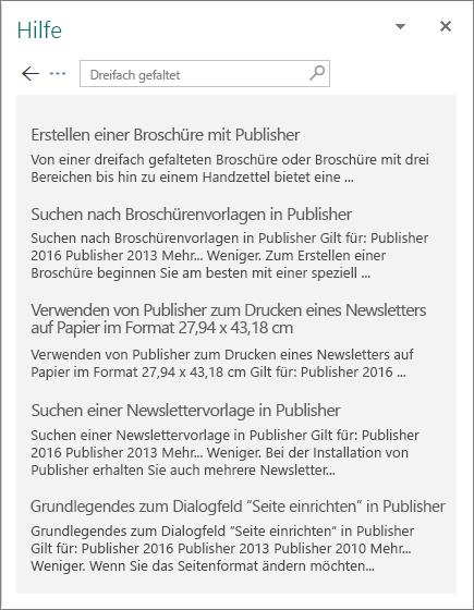 """Screenshot des Publisher 2016-Bereichs """"Hilfe"""", in dem die Ergebnisse einer Suche nach """"Drittel"""" angezeigt werden"""