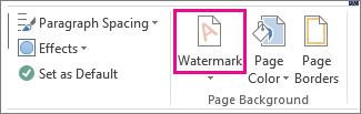 """Der Befehl """"Wasserzeichen"""" in Word 2013. Klicken Sie auf der Registerkarte """"Entwurf"""" auf """"Wasserzeichen""""."""