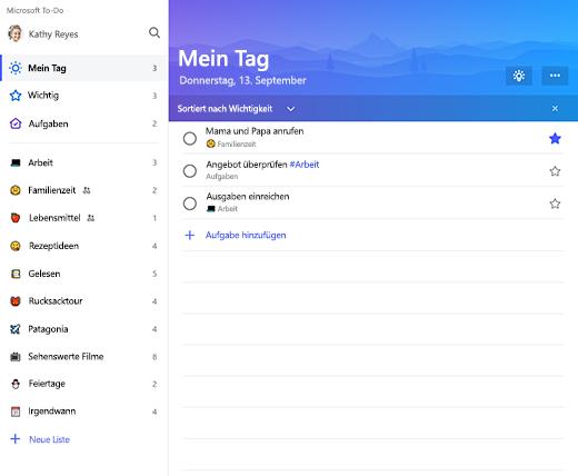 """Screenshot der Listenrandleiste und der Liste """"Mein Tag"""" in Microsoft To-Do"""