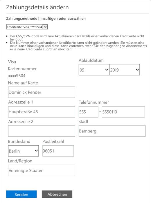 """Bereich """"Zahlungsdetails ändern"""", wenn Sie per Kreditkarte oder Bankkonto bezahlen."""