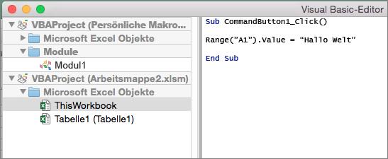 Excel für Mac, VB-Editor