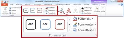 Die Registerkarte Format unter SmartArt-Tools