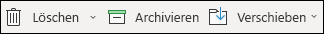 Die Menüelemente ' löschen ' und ' Archivieren '