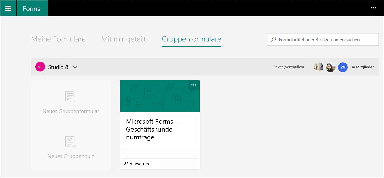 """Microsoft Forms-Registerkarte """"Gruppen Formulare"""""""