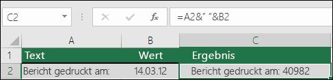Beispiel für ein Verknüpfen von Text ohne die TEXT-Funktion