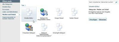 Dialogfeld 'Weitere Webparts'