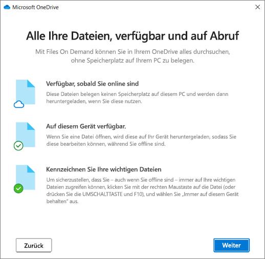 """Der Bildschirm """"Dateien auf Anforderung"""" im Assistenten """"Willkommen bei OneDrive"""""""