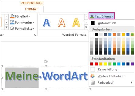 Katalog für die Textfüllfarbe auf der Registerkarte 'Zeichentools > Format'