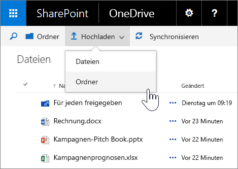 Screenshot, in dem das Hochladen eines Ordners in OneDrive for Business in SharePoint Server 2016 mit Feature Pack 1 dargestellt ist