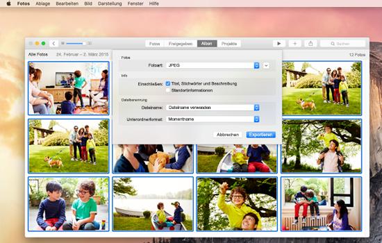Beispiele für ein Dateiexport-Fenster in Mac