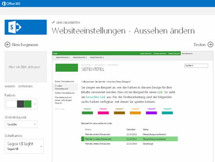 Beispiel für den Bildschirm, der zum Ändern der Schriftart, der Farben und des Layouts für Ihre Website verwendet wird.
