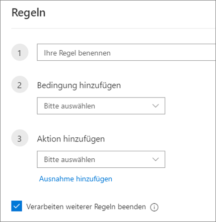 Erstellen einer neuen Regel in Outlook im Web