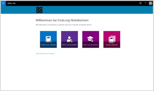 Startbildschirm zum Erstellen eines Code.org-Kursnotizbuchs