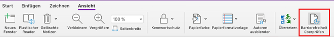 OneNote für Mac – Tool zur Überprüfung der Barrierefreiheit