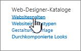 """Option """"Websitespalte"""" auf der Seite """"Websiteeinstellungen"""""""