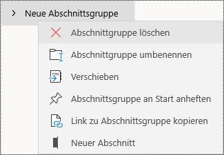 Löschen von Abschnittsgruppen in der OneNote für Windows 10-App