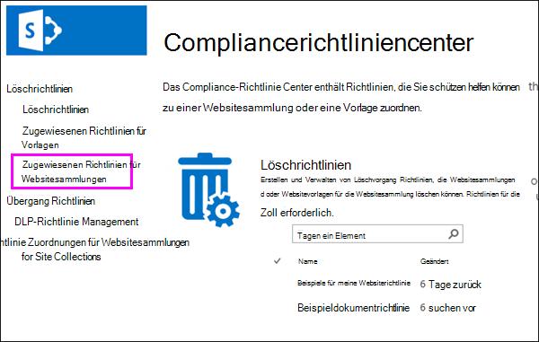 """Richtlinienzuweisungen für den Link """"Websitesammlungen"""""""