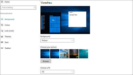 Personalisierungseinstellungen für den Desktophintergrund