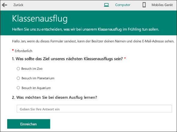 Vorschaumodus für die Anzeige eines Kursumfrageformulars auf einem Computer.