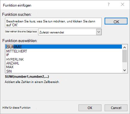 Dialogfeld 'Funktion einfügen'