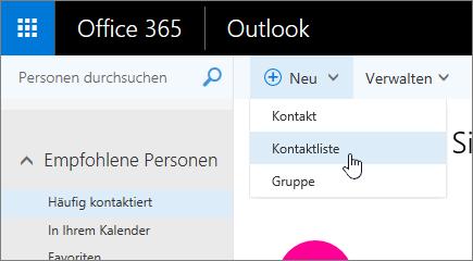 "Screenshot des Befehls ""Neu"", ""Kontaktliste"" ausgewählt"