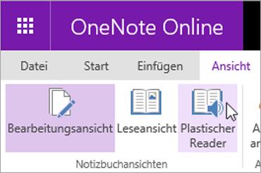 Öffnen Sie Learning-Tools in OneNote Online, indem Sie die Registerkarte ' Ansicht ' auswählen