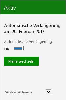 """Nahaufnahme eines Abonnements mit dem Datum der automatischen Verlängerung und der Schaltfläche """"Pläne wechseln"""""""