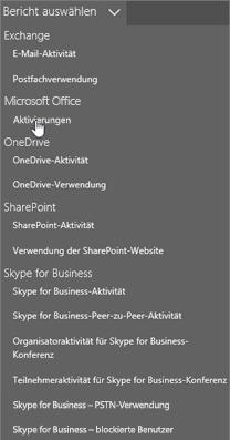 """Screenshot: Klicken Sie auf """"Postfachnutzung"""", um zum Bericht zur Postfachnutzung zu gelangen"""